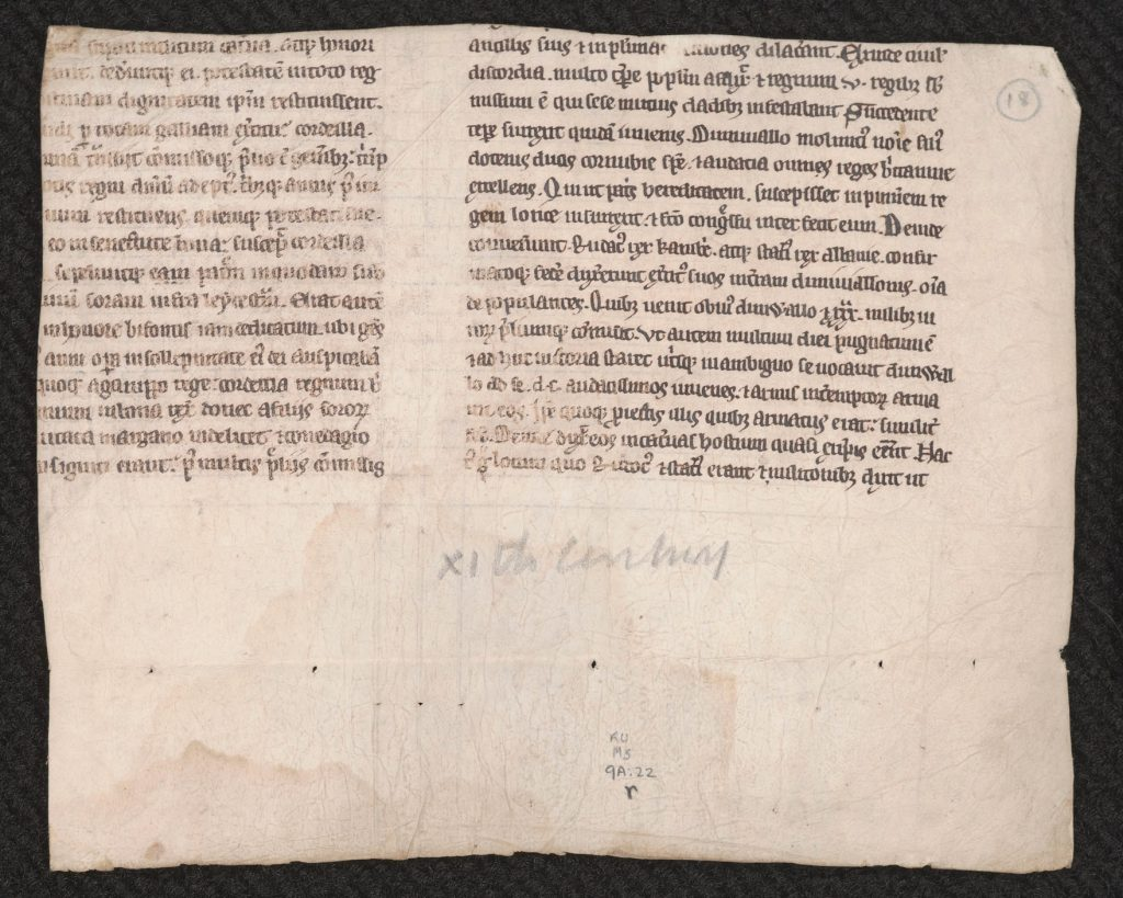 Recto side of a fragment of Geoffrey of Monmouth's Historia regum Britanniae (First Variant), England, first half of the thirteenth century. Call # MS 9/1:A22.