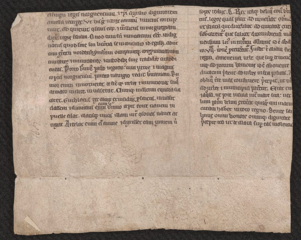 Verso side of a fragment of Geoffrey of Monmouth's Historia regum Britanniae (First Variant), England, first half of the thirteenth century. Call # MS 9/1:A22.