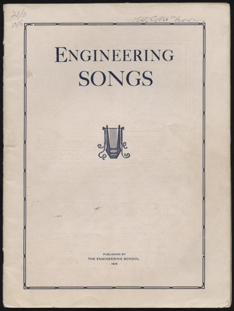"The cover of the KU publication ""Engineering Songs,"" 1915"