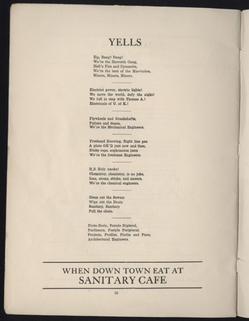 "A page of yells in the KU publication ""Engineering Songs,"" 1915"