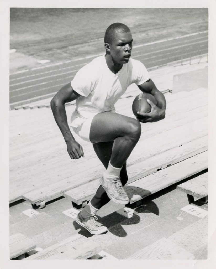 Photograph of Gale Sayers training, circa 1962-1965