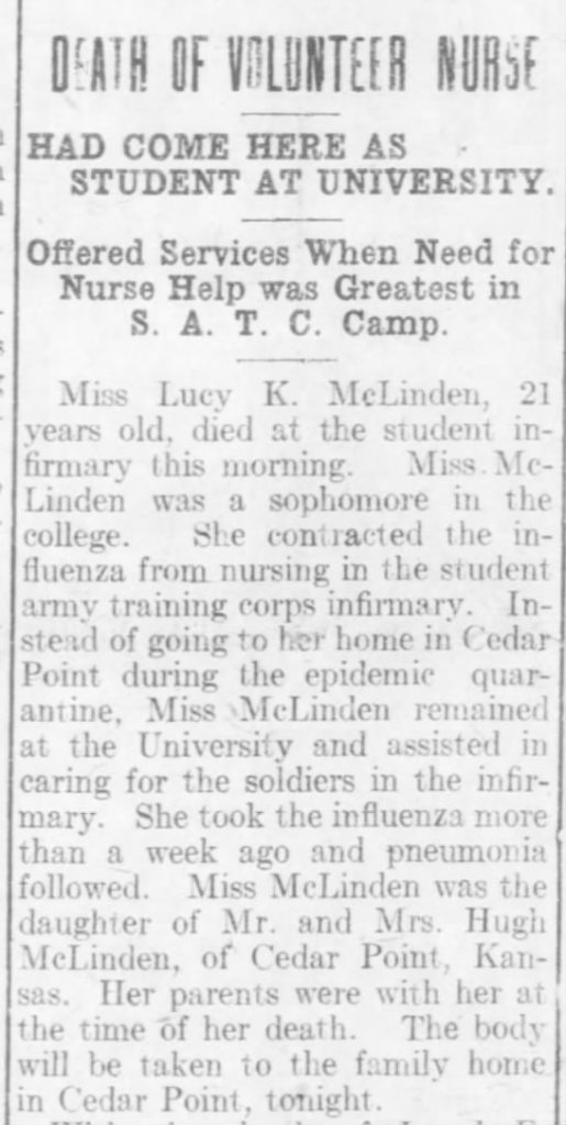 """Death of Volunteer Nurse,"" (Lawrence, Kansas) Daily Gazette, November 9, 1918"
