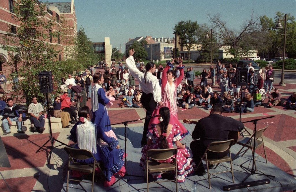 Photograph of a performance showcasing Hispanic music and dance, October 1997
