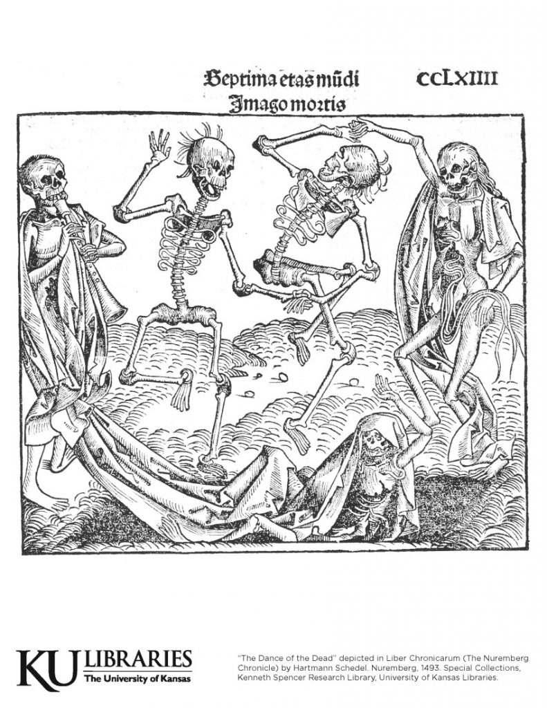"""""""The Dance of the Dead"""" in The Nuremberg Chronicle, 1493"""