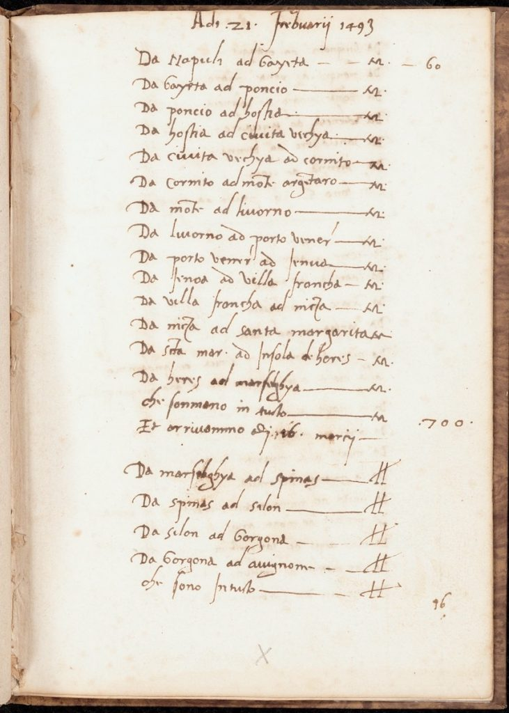 Image showing the text from the beginning of the journey in February 1493. Travel Itinerary, Italy and France, 1493-1494. Call # MS B21.