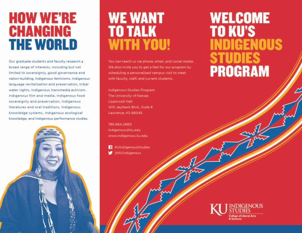 Photograph of the first page of the KU Indigenous Studies Program brochure, 2020