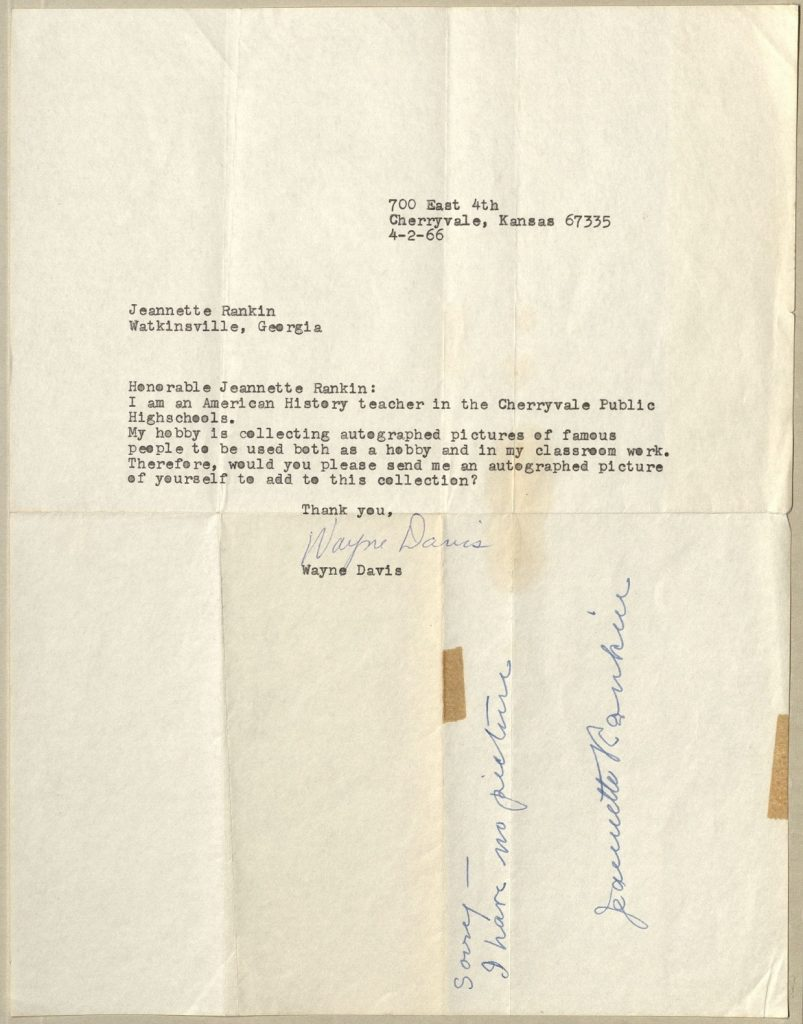 Letter from Wayne Davis to Jeannette Rankin, with Rankin's reply in manuscript, original letter dated April 2, 1966.