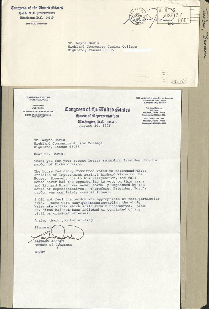Envelope and Letter from Barbara Jordan, Member of Congress for Texas, to Wayne Davis concerning Ford pardon of Nixon.