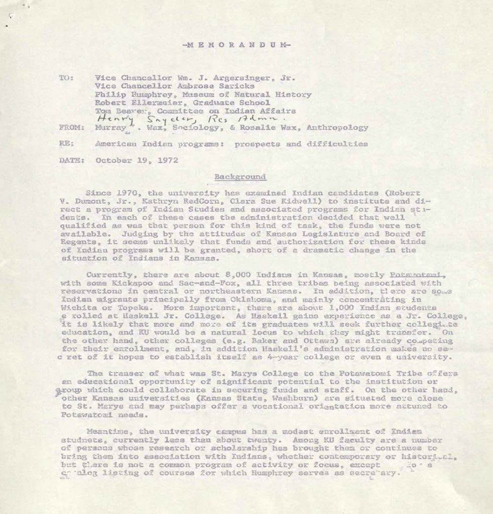 Photograph of a memorandum, 1972