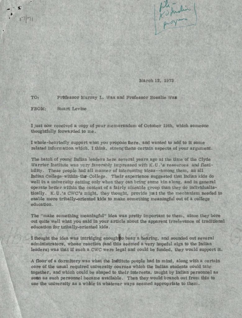 Photograph of a letter from Stuart Levine to professors Murray L. Wax and Rosalie Wax, March 12, 1973