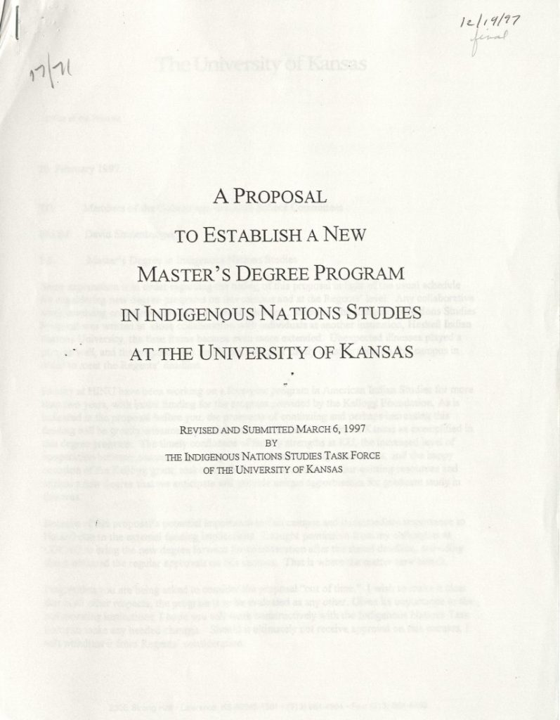"Cover of ""A Proposal to Establish a New Master's Degree Program in Indigenous Nations Studies at the University of Kansas,"" March 6, 1997"
