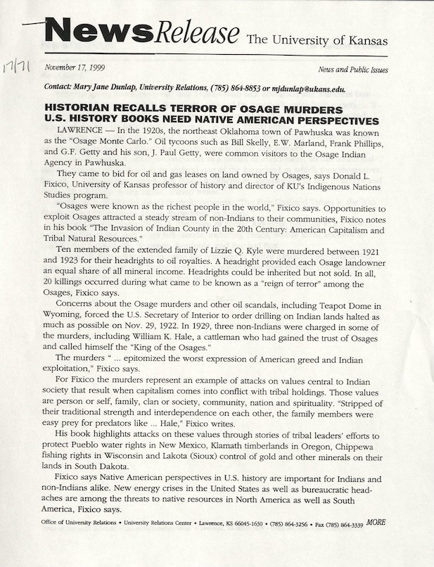 Photograph of a KU news release, November 17, 1999