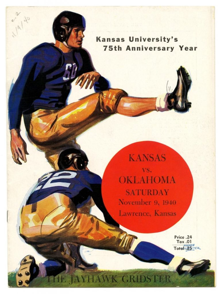 Cover of The Jayhawk Gridster for the KU football game against the University of Oklahoma, November 9, 1940