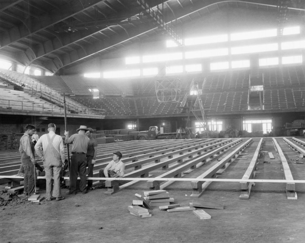 Photograph of the interior of Allen Fieldhouse under construction, 1954