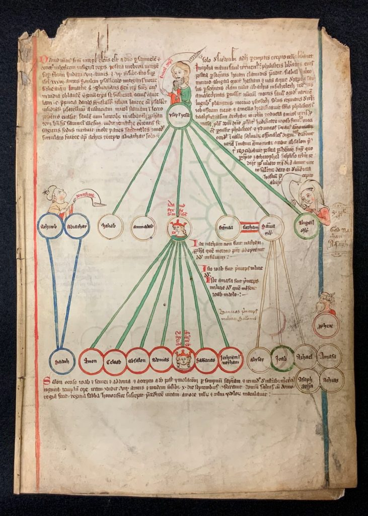 Image of Acephalous text beginning with Jesse on folio 1r. Peter of Poitiers, Compendium historiae in genealogia Christi, Central Europe (?), around 1300 (?). Call # MS 9/2:29.