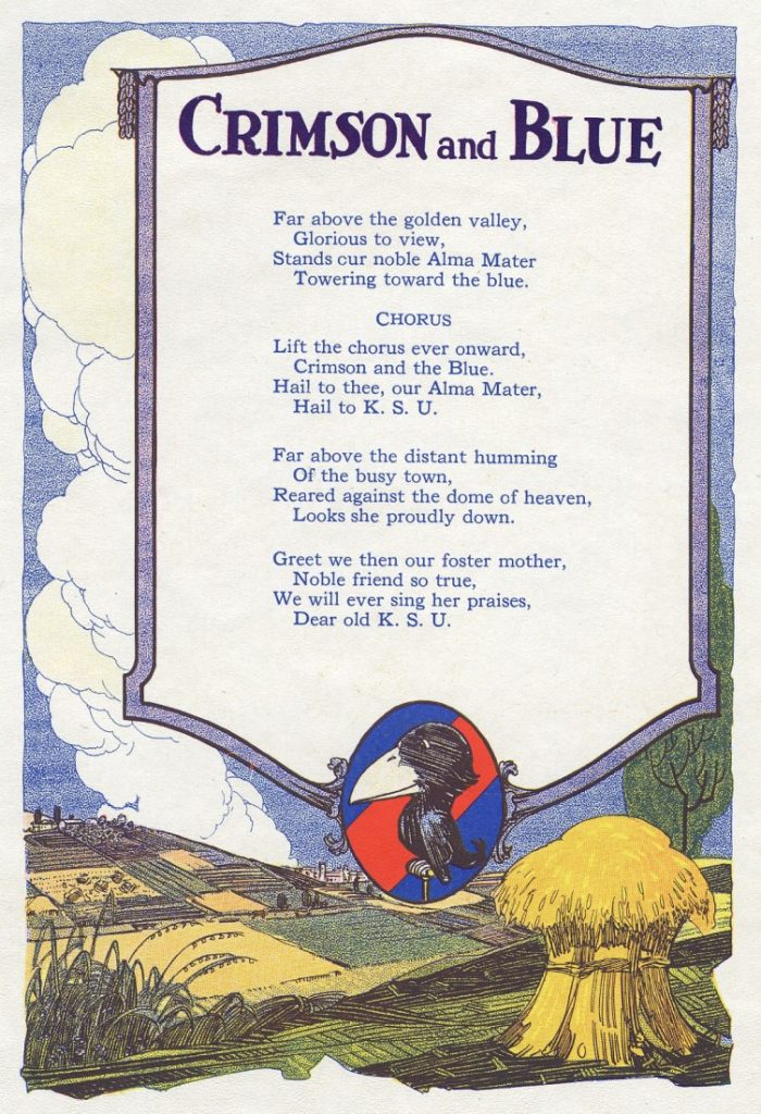 "Lyrics to ""Crimson and Blue"" in the 1920 Jayhawker yearbook"