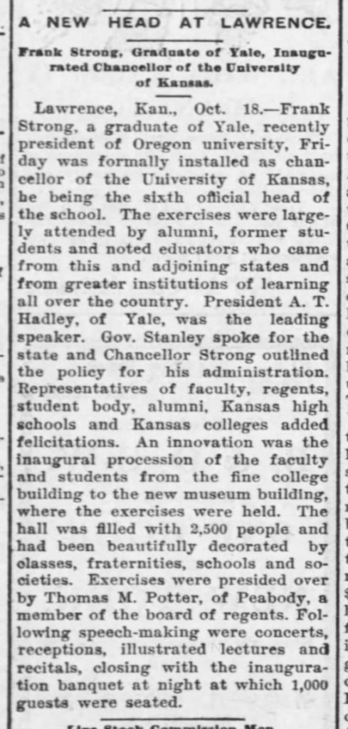 "Article, ""A New Head at Lawrence,"" Lawrence Daily World, October 18, 1902"