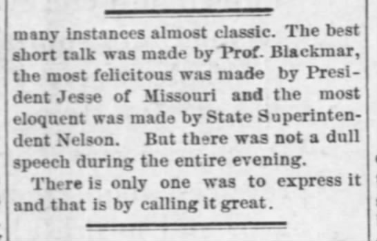 "Article, ""It Was Great,"" Lawrence Daily World, October 18, 1902"