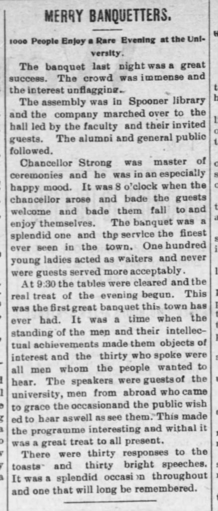 "Article, ""Merry Banquetters,"" Lawrence Daily World, October 18, 1902"