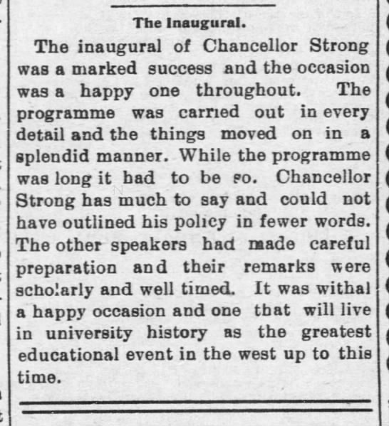 "Article, ""The Inaugural,"" Lawrence Daily World, October 18, 1902"