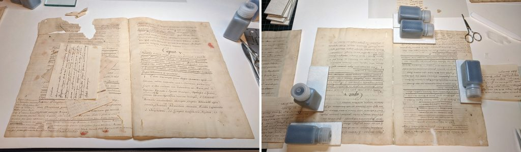 A damaged folio from MS E279 before treatment, at left, and being mended during treatment, at right.