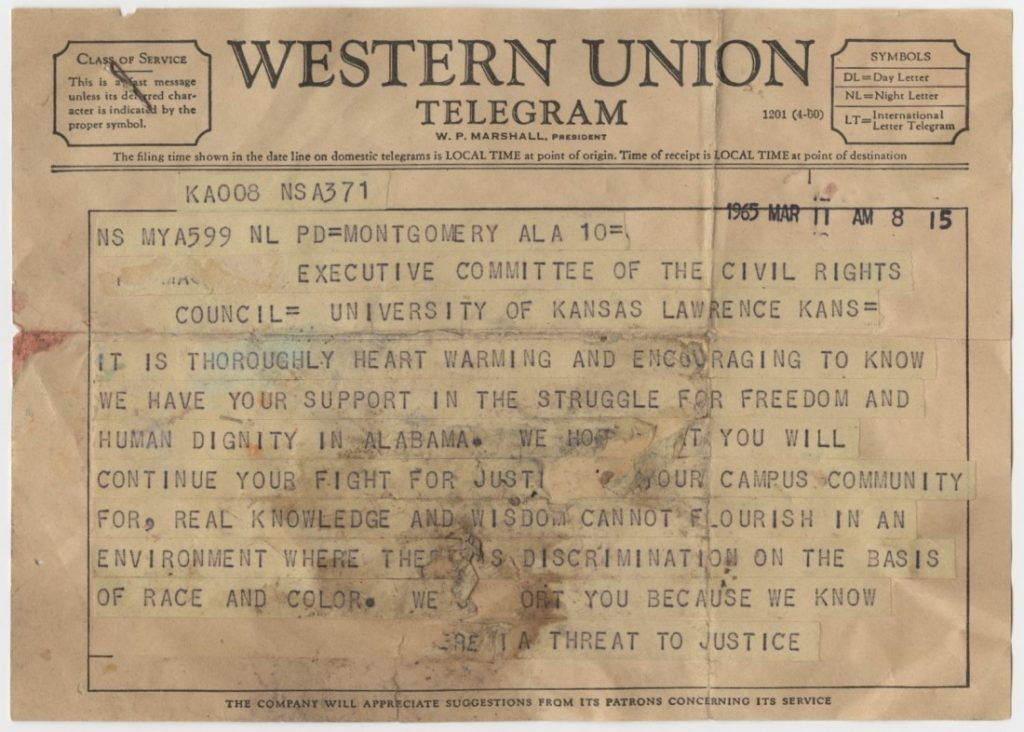 The first page of a telegram from Martin Luther King, Jr. to the Executive Committee of KU's Civil Rights Council, March 11, 1965