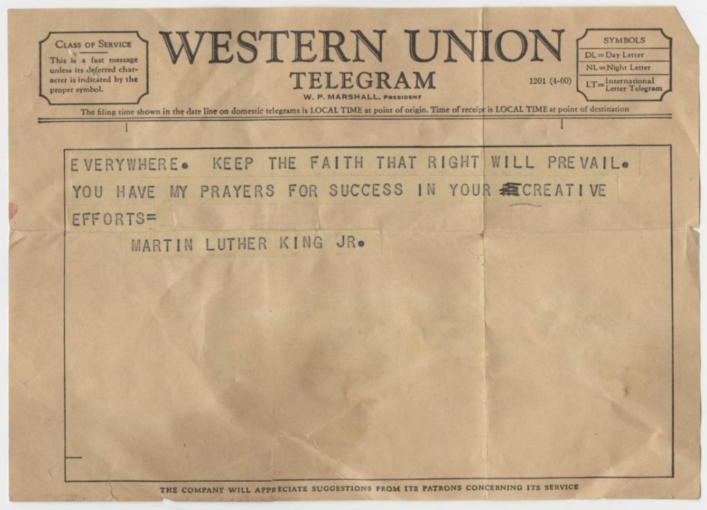 The second page of a telegram from Martin Luther King, Jr. to the Executive Committee of KU's Civil Rights Council, March 11, 1965