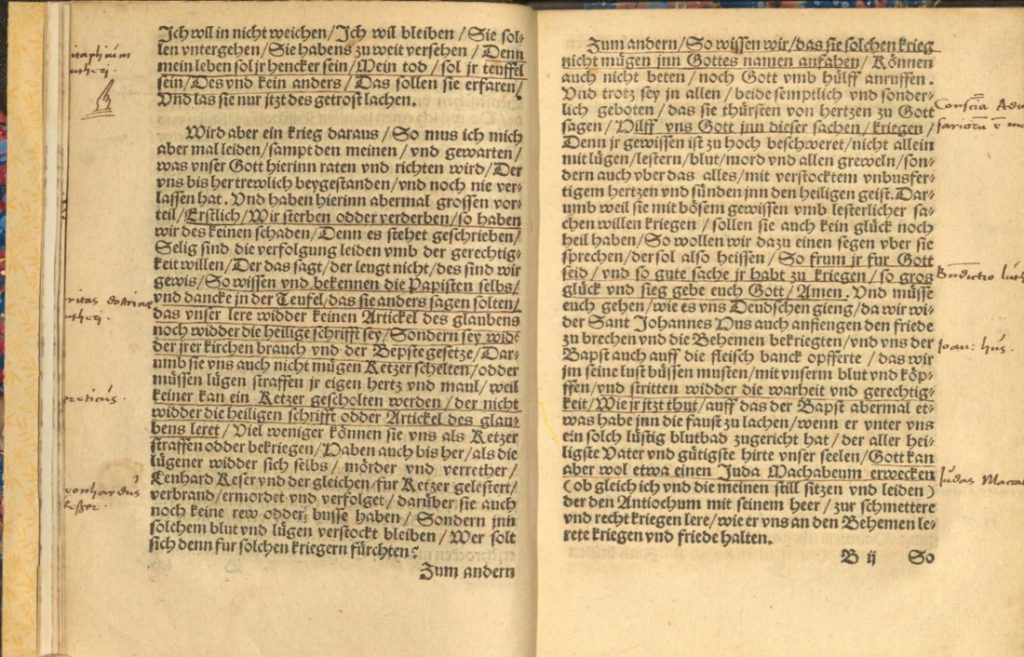 Image of two annotated pages of text in Warnunge by Martin Luther, 1531