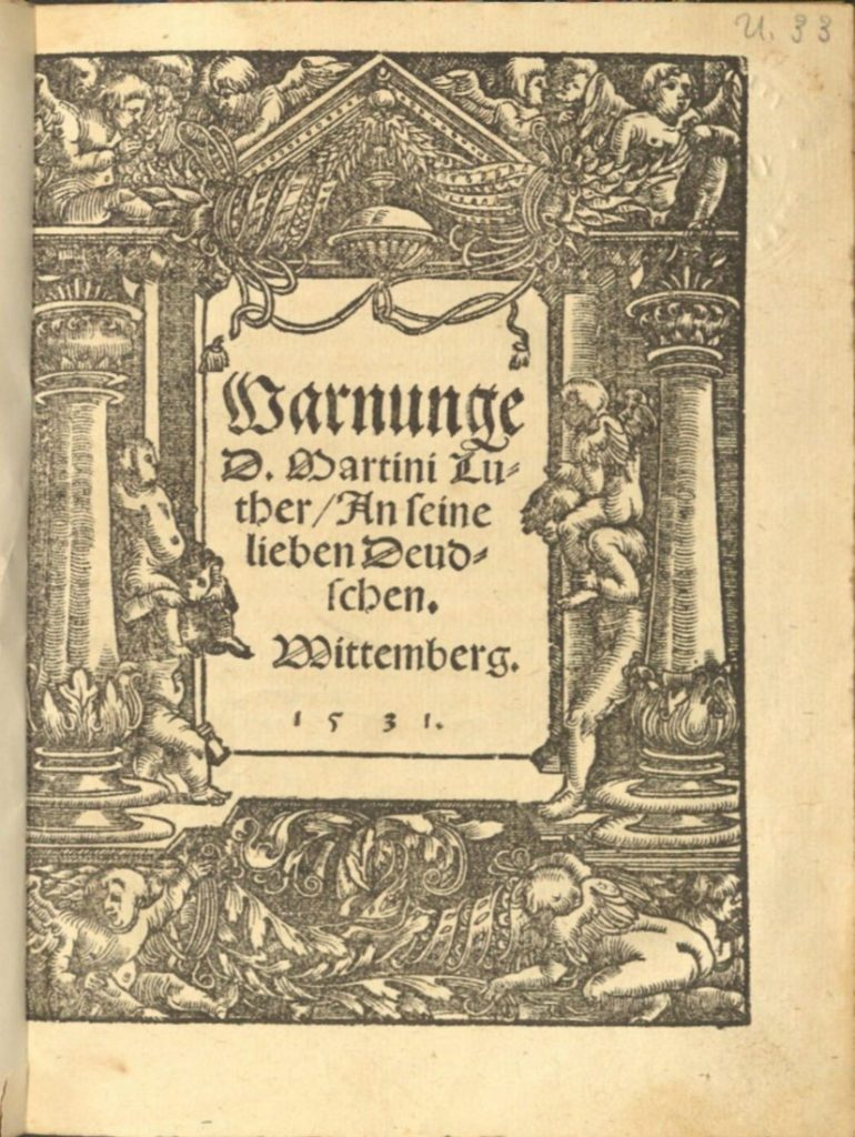 Image of the title page of Warnunge by Martin Luther, 1531