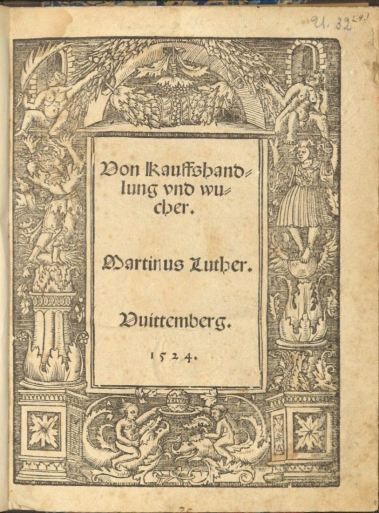Image of the title page of Von Kaufshandlung und Wucher by Martin Luther, 1524