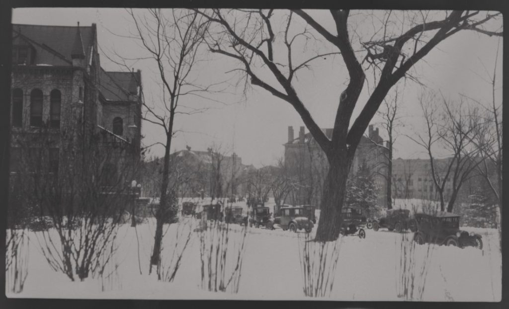 Photograph of the KU campus in snow, 1920s