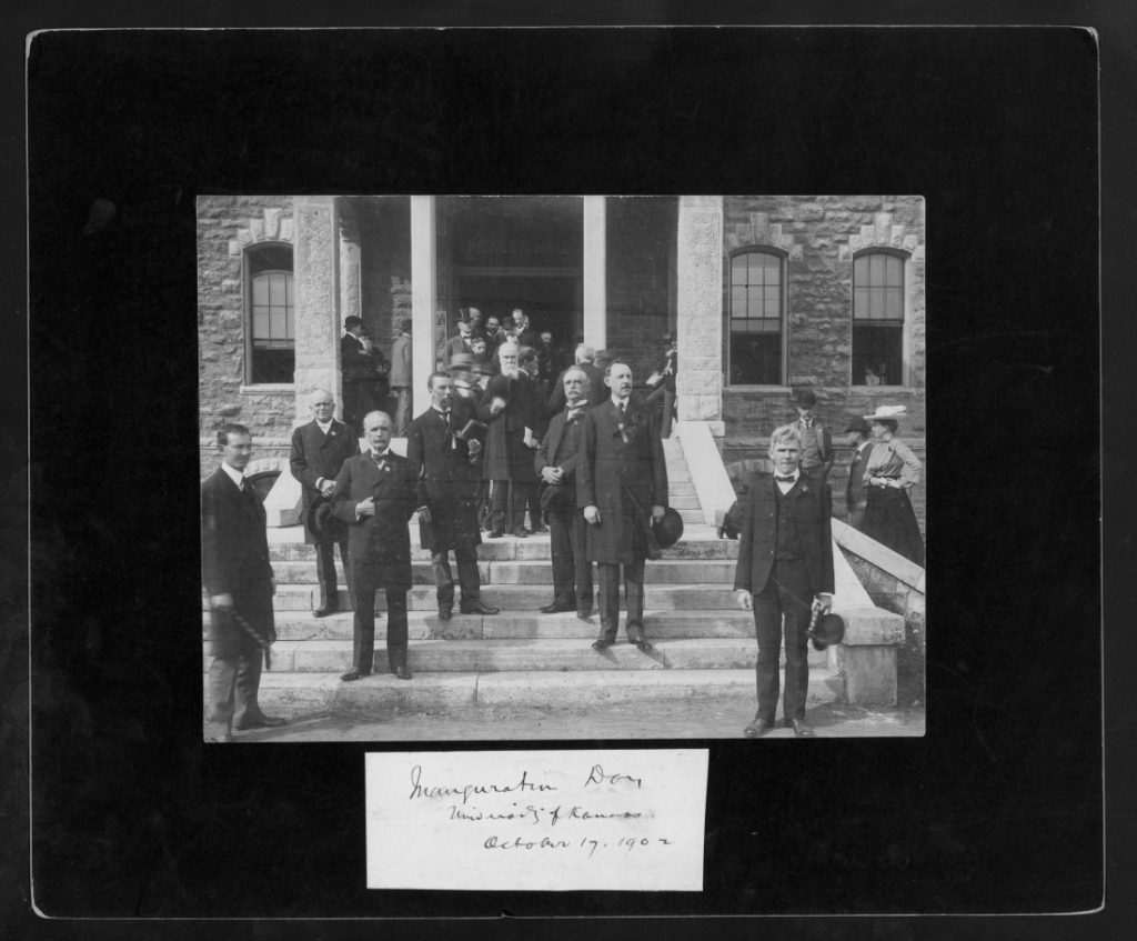 Photograph of the inauguration procession of Chancellor Frank Strong, October 17, 1902