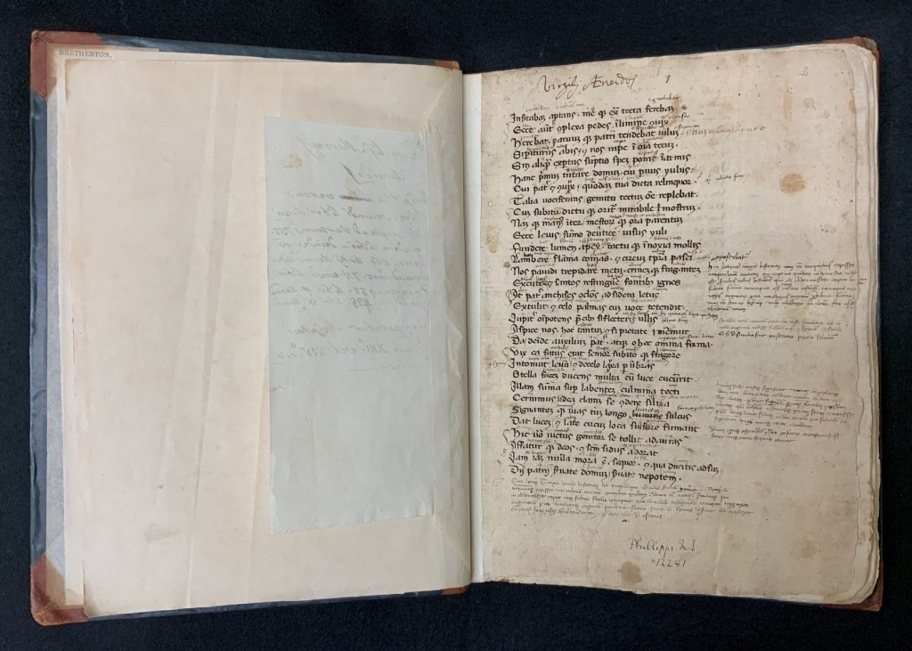 Image showing how Spencer's incomplete copy of Vergil's Aeneid at MS E71 begins with with Book II, line 672
