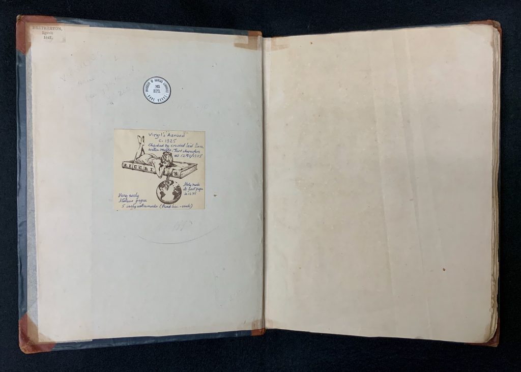 Image of Bookplate of Robert T. Aitchison in the middle and the ticket of the binder, George Bretherton, in the upper left corner of the front pastedown (left) in Spencer Research Library's manuscript copy of Vergil's Aeneid, Italy (?), first quarter of the fifteenth century?. (MS E71).