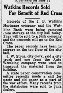 """Article, """"Watkins Records Sold for Benefit of Red Cross,"""" Lawrence Journal-World, January 10, 1942"""
