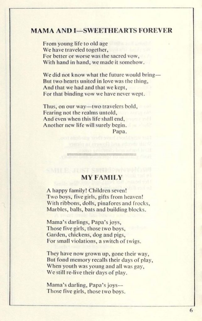 Image of two poems by John D. Barker in Selected Poems compiled by the Barker family, 1960