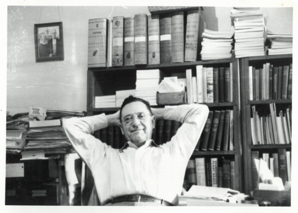 James C. Malin in his office in the KU History Department, 1950
