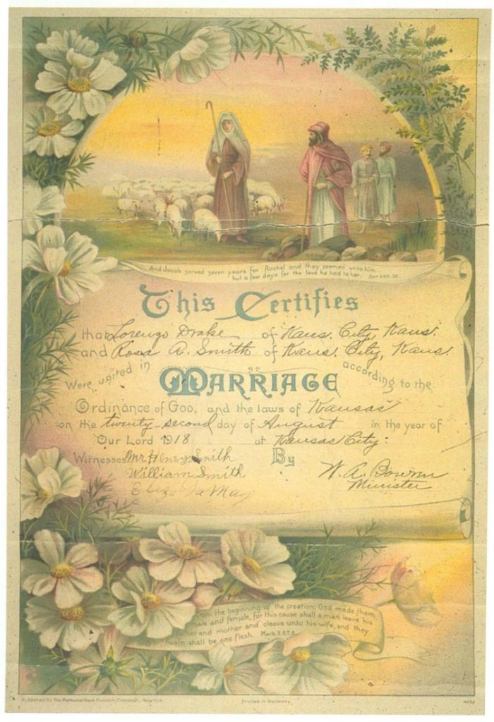 Image of the marriage certificate of Lorenzo Drake and Rosa A. Smith, Kansas City, Kansas, 1918