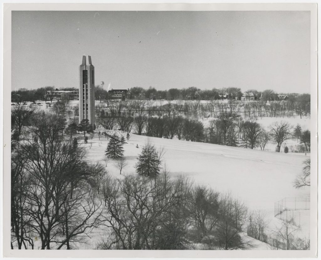 Photograph of KU's Campanile in snow, 1970s