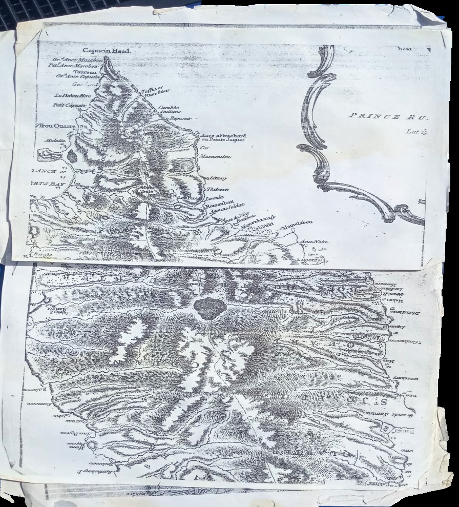 Copy of a map showing the land which was promised to the Kalinago people by Queen Elizabeth II. Donated by Noel Valmond.