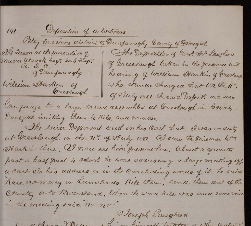 Image of a detail from Constable Joseph Laugheed's deposition regarding William Harkin (Item 141) in the Dunfanaghy Petty Sessions copy book (MS E109)