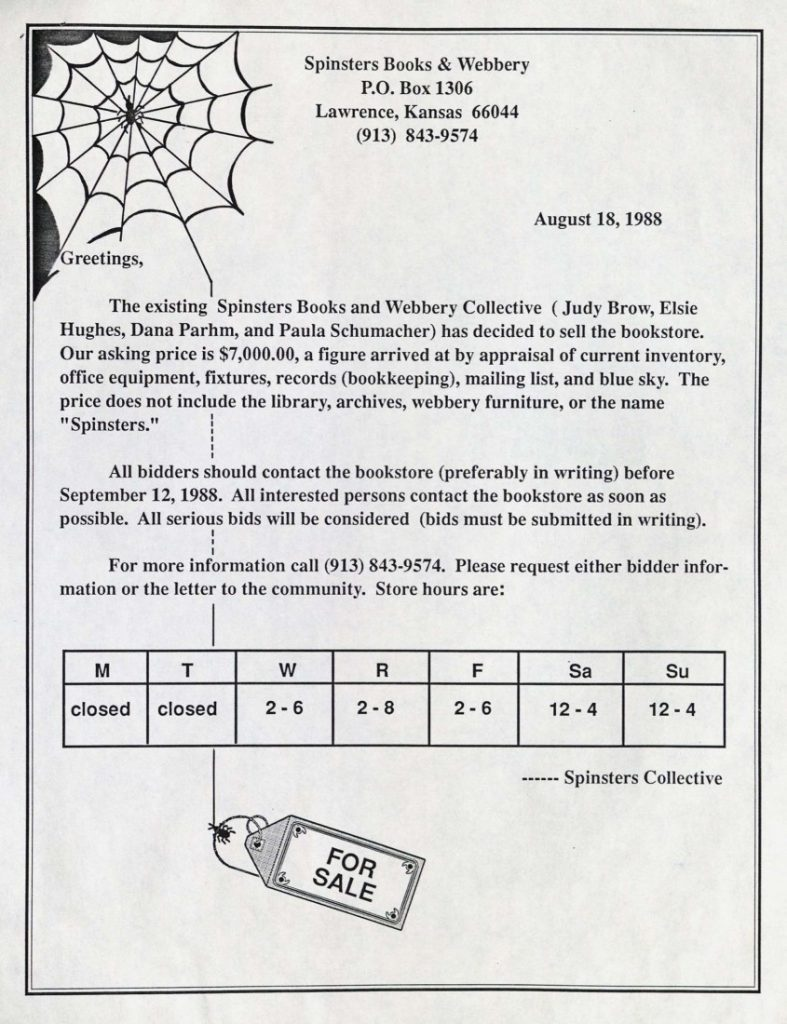 Image of a Spinsters sale notice, 1988