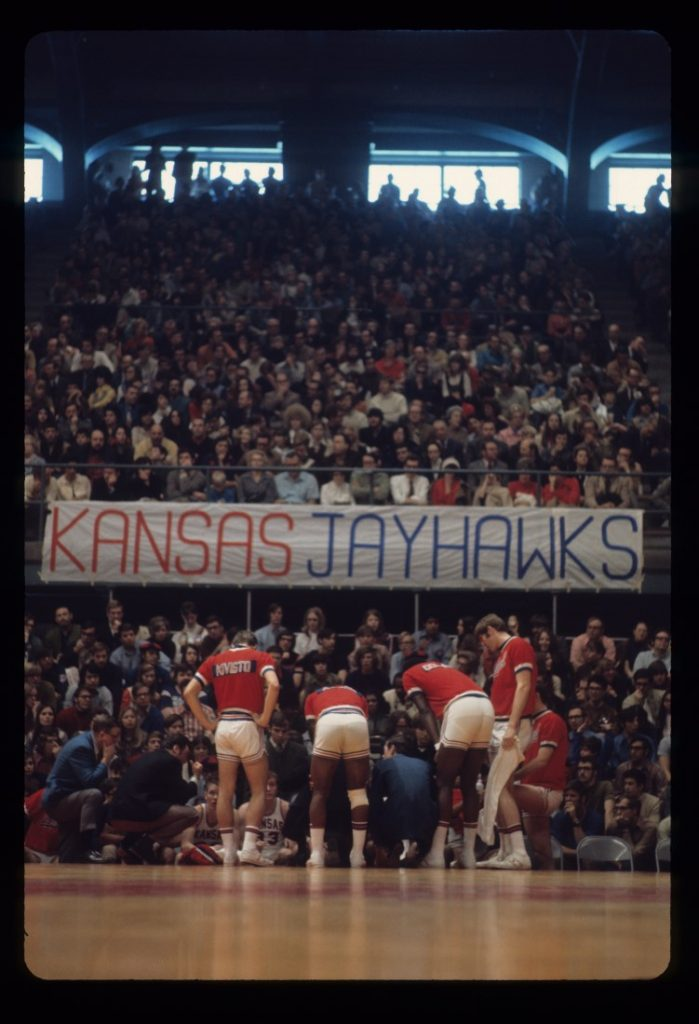 Photograph of a KU men's basketball game at Allen Fieldhouse, 1969-1970