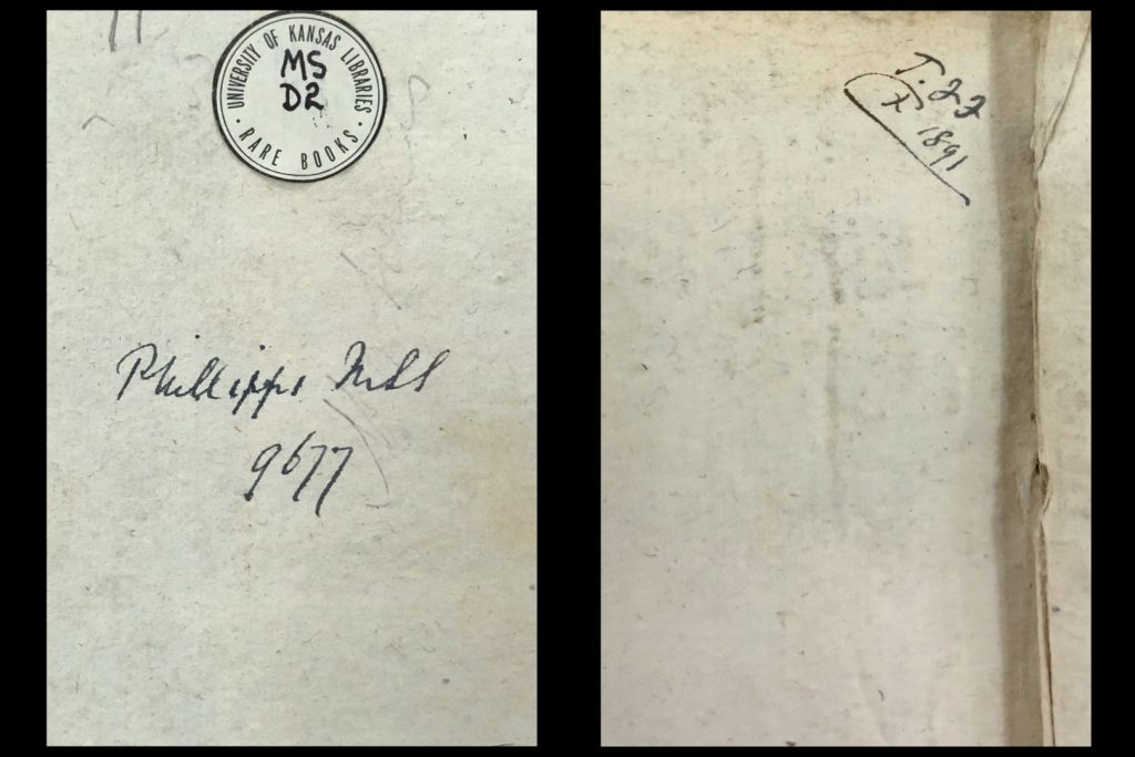 Image showing the Number given by Sir Thomas Phillipps on the front pastedown (left) and initials of Thomas FitzRoy Fenwick on the verso of the end flyleaf (right) of MS D2.