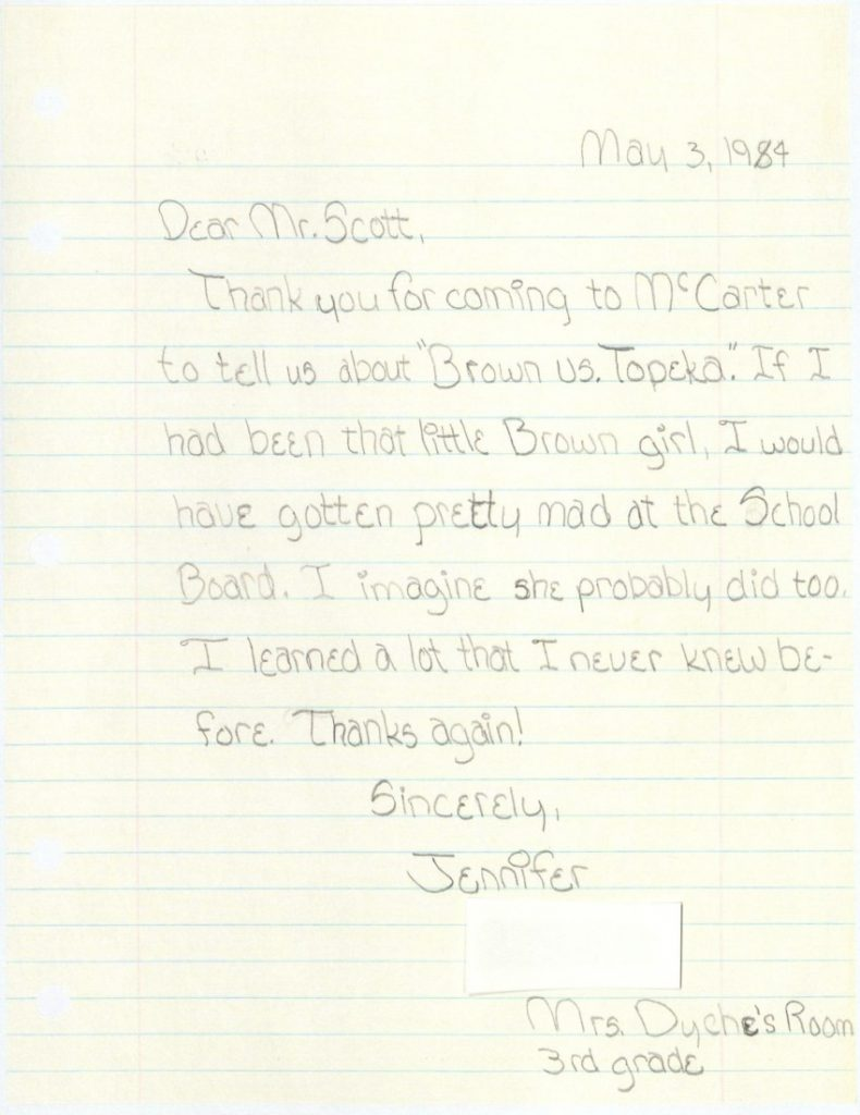 A letter from Jennifer W. to Charles S. Scott, May 3, 1984