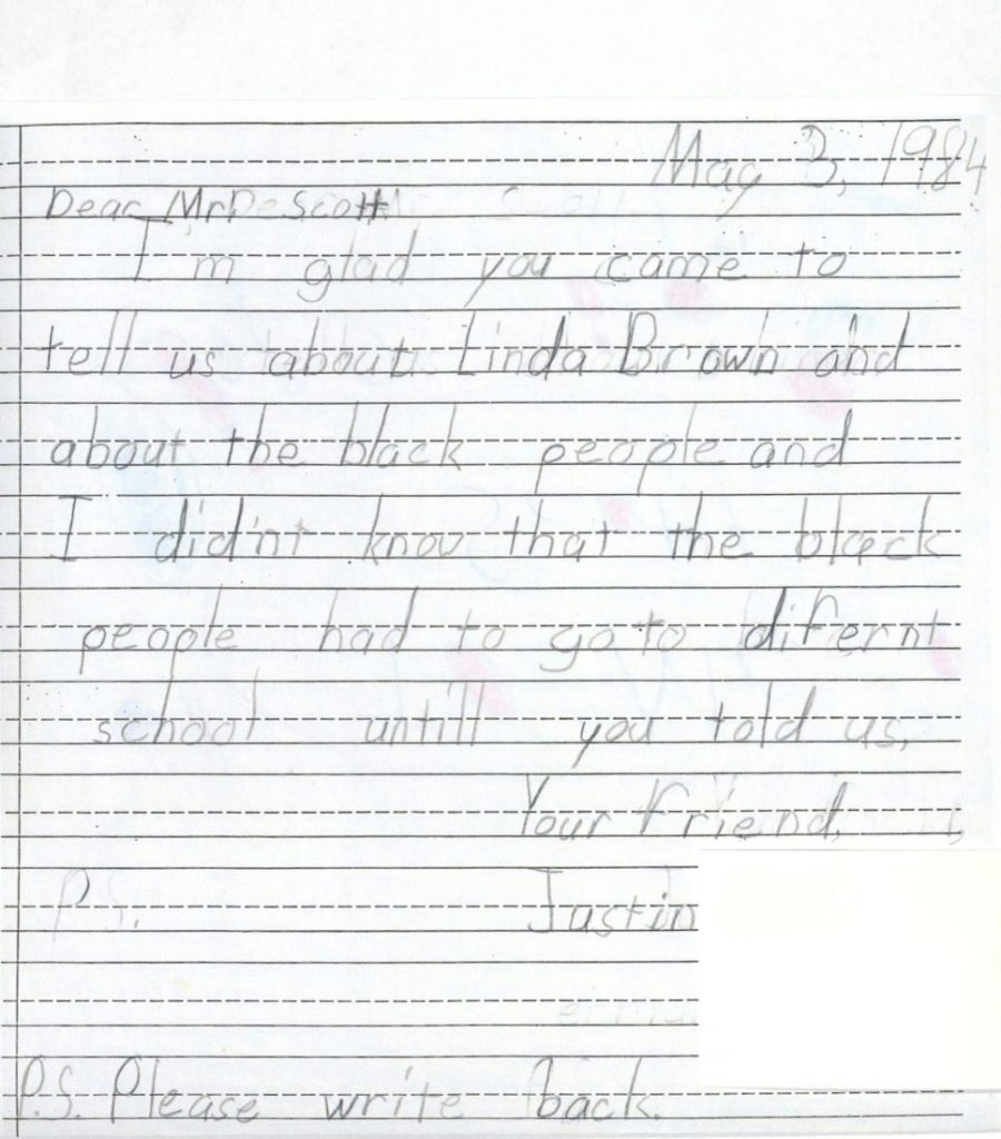 A letter from Justin to Charles S. Scott, May 3, 1984