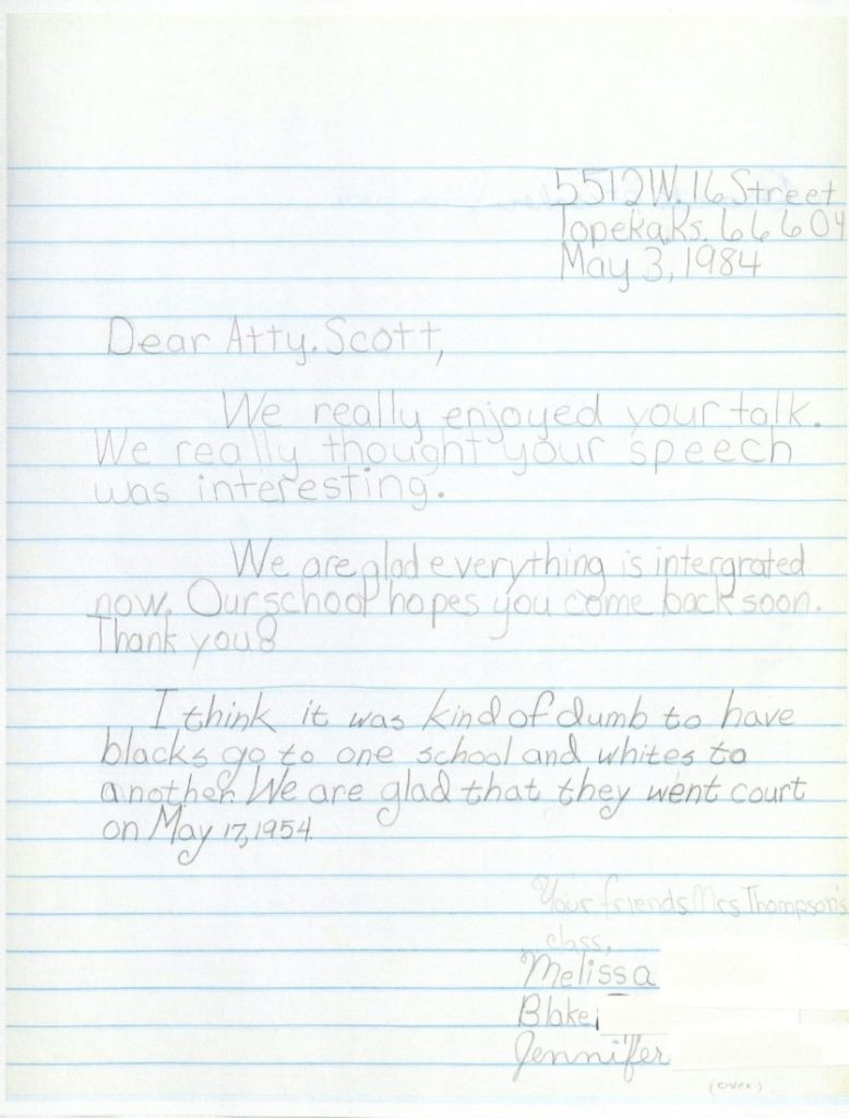 A letter from Melissa, Blake, and Jennifer to Charles S. Scott, May 3, 1984