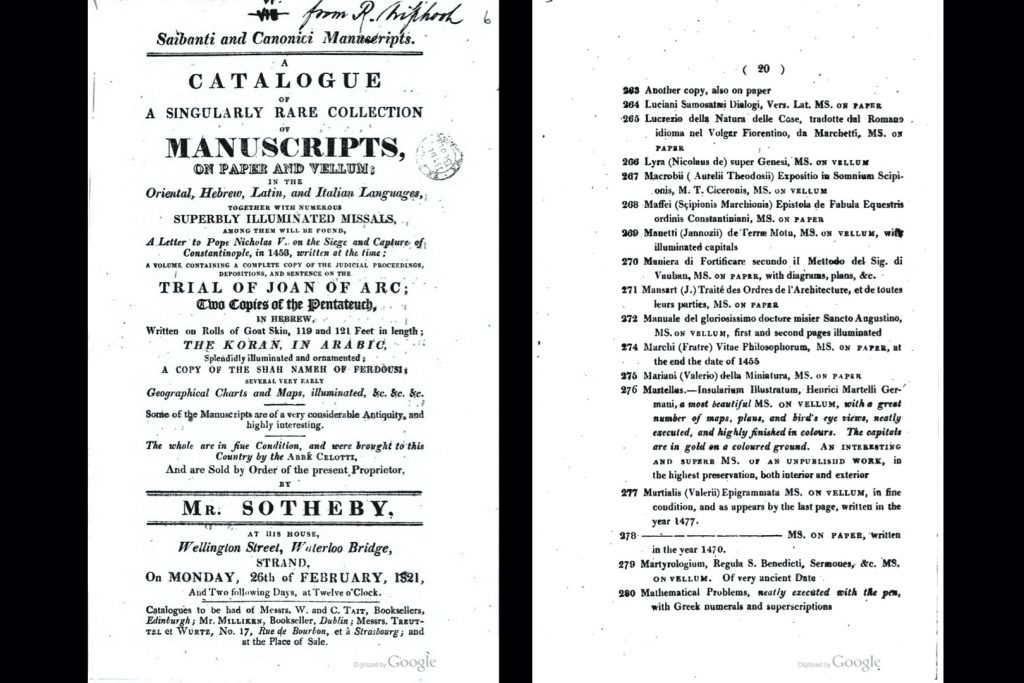 Image from Google Books showing the title page of the 1821 Sotheby's auction catalog (left) and the catalog entry no. 278 that corresponds to MS D2 (right).