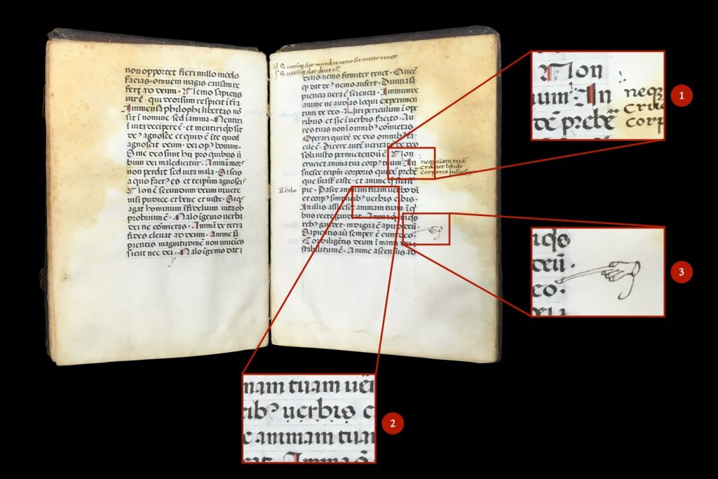 Image with enlarged pop-outs showing three examples of marginal and interlinear interventions on folios 16v-17r of MS C49.