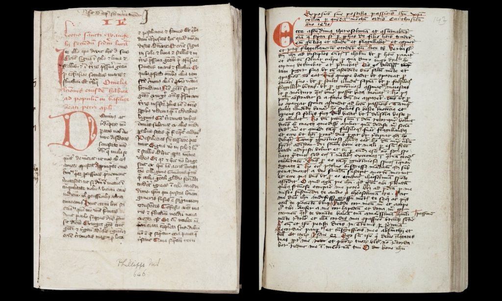Image of St. Gregory the Great's Homilies on folio 2r and Herman Appeldorn's Exposition on folio 144r.